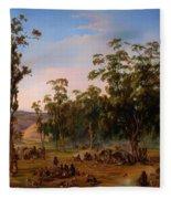 An Aboriginal Encampment Near The Adelaide Foothills Fleece Blanket