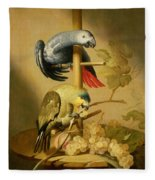 An African Grey And An Orange Winged Amazon Parrot On  A Perch With Grapes Fleece Blanket