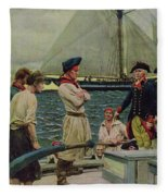 An American Privateer Taking A British Prize, Illustration From Pennsylvanias Defiance Fleece Blanket