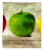 An Apple A Day With Martin Luther Fleece Blanket