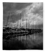 An Approaching Storm - Black And White Fleece Blanket