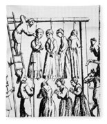 An Execution Of Witches In England Fleece Blanket