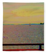 An Expanse Of Sky And Sea Twilight Fishing The Canal St Lawrence River Scenes Art Carole Spandau Fleece Blanket