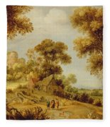 An Extensive Wooded Landscape Fleece Blanket