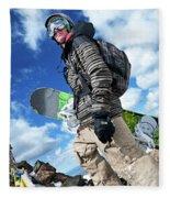 An Extreme Snowboarder Stands Fleece Blanket