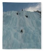 An Ice Climber In The Middle Fleece Blanket