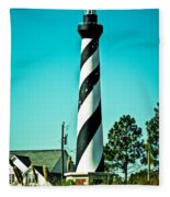 An Image Of Lighthouse In Small Town Fleece Blanket