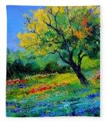 An Oak Amid Flowers In Texas Fleece Blanket