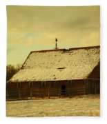 An Old Barn Just After An Early Spring Snow In Keene North Dakota  Fleece Blanket