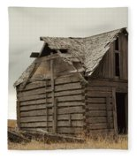 An Old Cabin In Eastern Montana Fleece Blanket