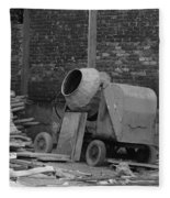 An Old Cement Mixer And Construction Material Fleece Blanket