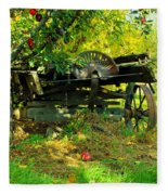 An Old Harvest Wagon Fleece Blanket
