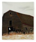 An Old Leaning Barn In North Dakota Fleece Blanket