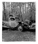 An Old Logging Boom Truck In Black And White Fleece Blanket