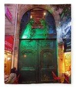 An Old Ornate Wooden Door In Paris France Fleece Blanket