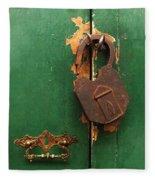 An Old Rusty Lock Fleece Blanket