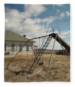 An Old School Near Miles City Montana Fleece Blanket