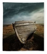 An Old Wreck On The Field. Dramatic Sky In The Background Fleece Blanket