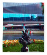 Anaglyph Modern Sculpture Fleece Blanket
