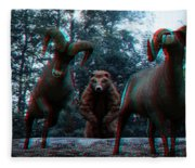 Anaglyph Wild Animals Fleece Blanket
