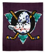 Anaheim Ducks Hockey Team Retro Logo Vintage Recycled California License Plate Art Fleece Blanket