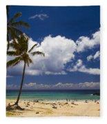 Anakena Beach On Easter Island Fleece Blanket