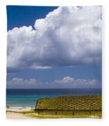 Anakena Beach With Ahu Nau Nau Moai Statues On Easter Island Fleece Blanket