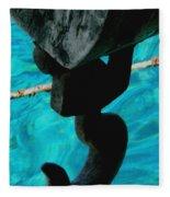 Ancher In Water Santorini Greece Fleece Blanket