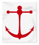 Anchor In Red And White Fleece Blanket