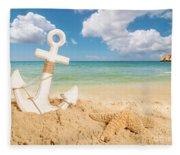 Anchor On The Beach Fleece Blanket
