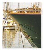 Anchored Yacht In Antibes Harbor Fleece Blanket