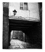Ancient Alley In Tui Bw Fleece Blanket