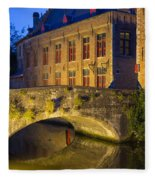 Ancient Bridge In Bruges  Fleece Blanket