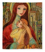 Ancient Mother And Son Fleece Blanket
