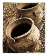 Ancient Pottery In Sepia Fleece Blanket