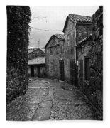 Ancient Street In Tui Bw Fleece Blanket
