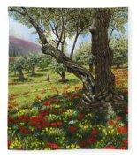 Andalucian Olive Grove Fleece Blanket