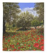 Andalucian Poppies Fleece Blanket