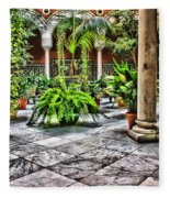 Andalusian Courtyard In Sevilla Spain Fleece Blanket