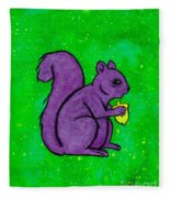 Andy's Squirrel Purple Fleece Blanket