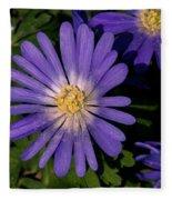 Anemone Blanda Blue Fleece Blanket