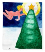 Angel And Christmas Tree Fleece Blanket