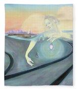 Angel Bringing Light To Meditating Woman At The Train Tracks Fleece Blanket