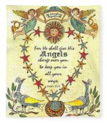 Angel Fraktur Painting Fleece Blanket