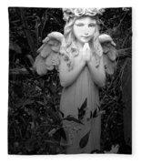 Angel In Black And White Fleece Blanket