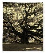 Angel Oak Tree Sepia Fleece Blanket