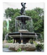Angel Of The Waters Fountain Fleece Blanket