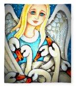 Angel Sheltering Seven Swans Fleece Blanket