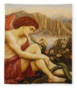 Angel With Serpent Fleece Blanket
