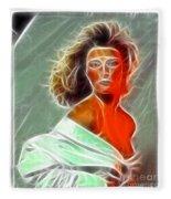 Angela Leather Red Fractal Fleece Blanket